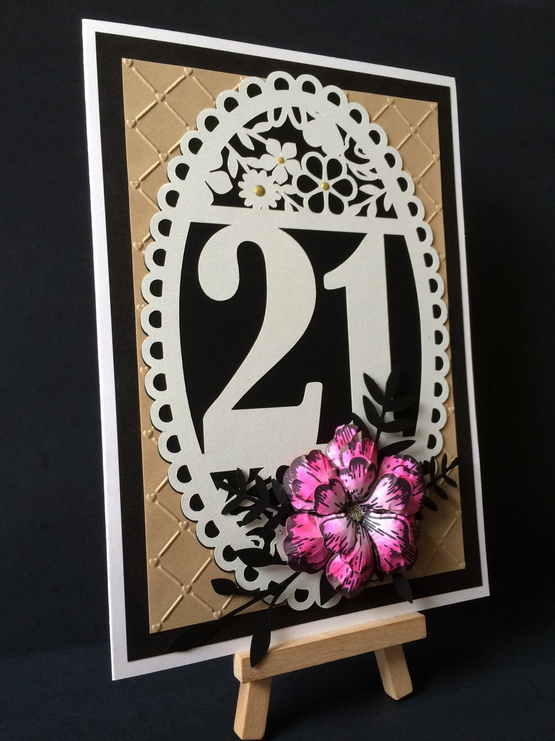21st Birthday oval card topper - studio