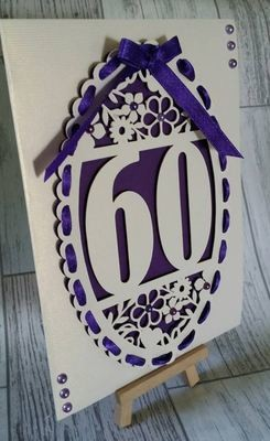 60th Birthday oval card topper - studio