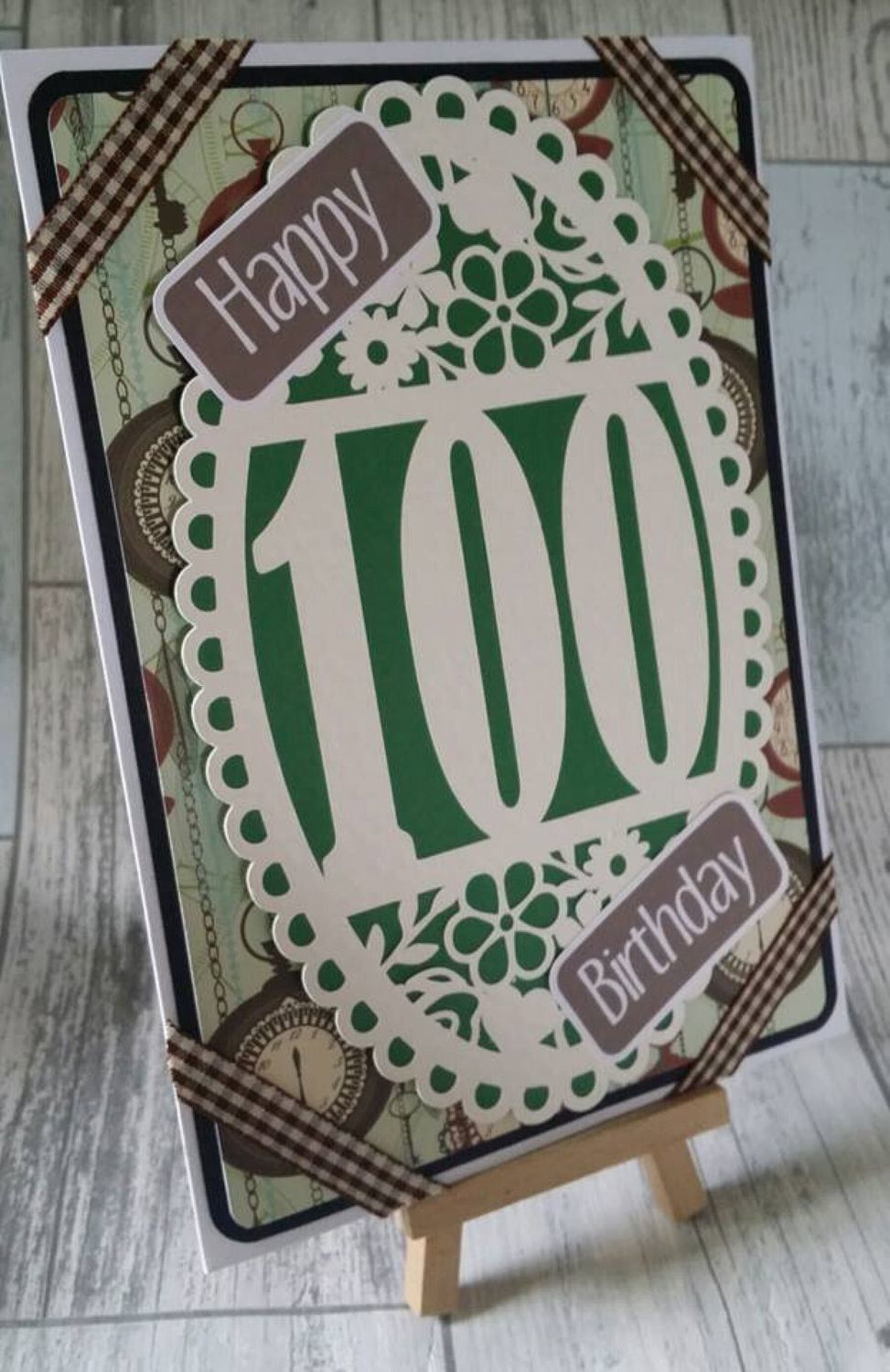 100th Birthday oval card topper - studio