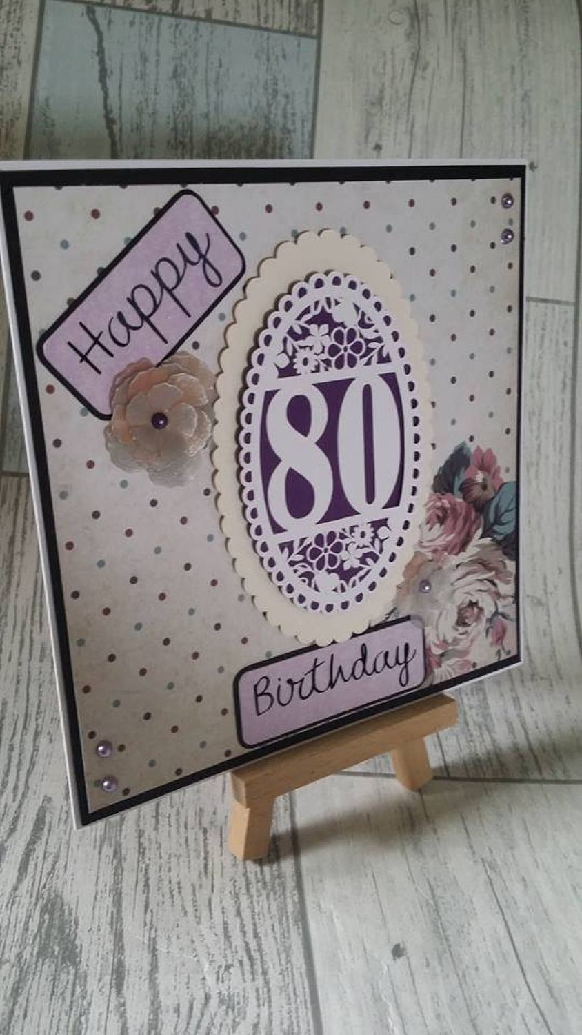 80th Birthday oval card topper - studio
