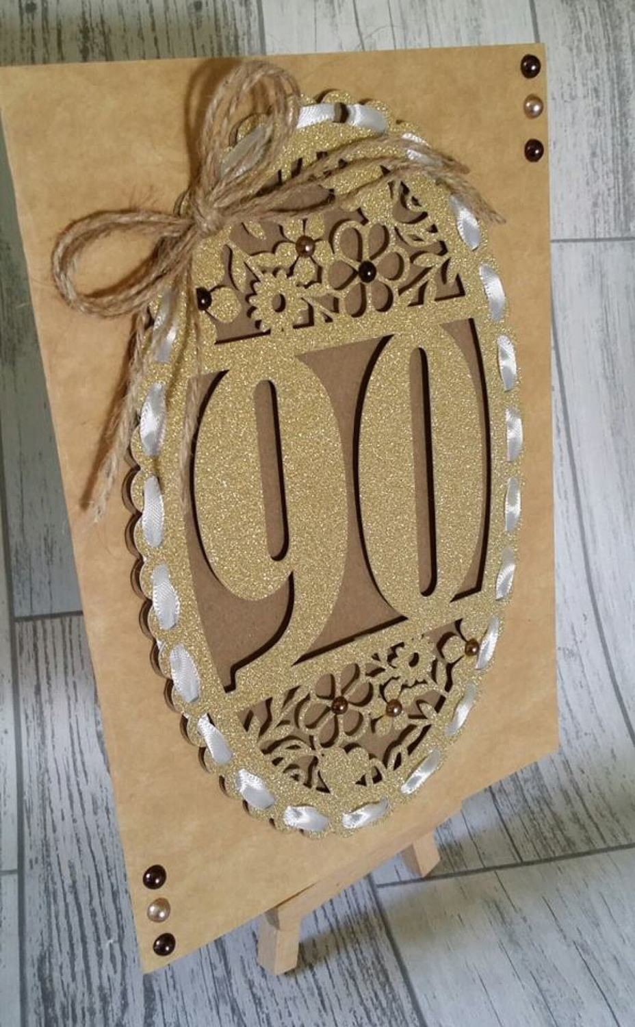 90th Birthday oval card topper - studio
