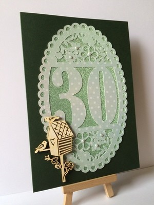 30th Birthday oval card topper - studio