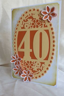 40th Birthday oval card topper - studio