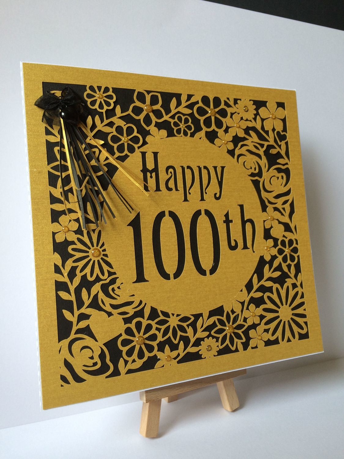 100th Birthday floral square card - studio