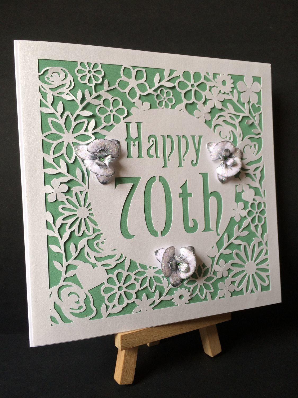 70th Birthday floral square card - studio