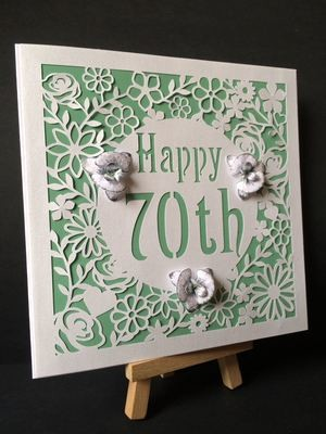 70th Birthday floral square card - studio