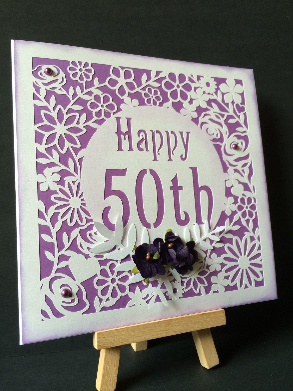 50th Birthday floral square card - studio