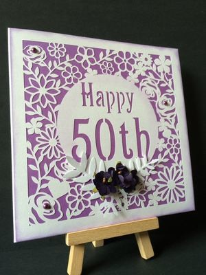 50th Birthday floral square card - studio
