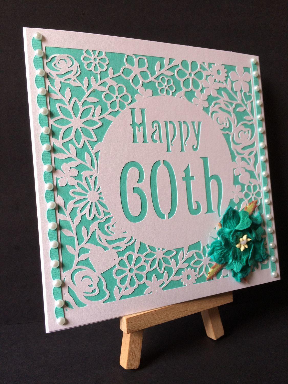 60th Birthday floral square card - studio