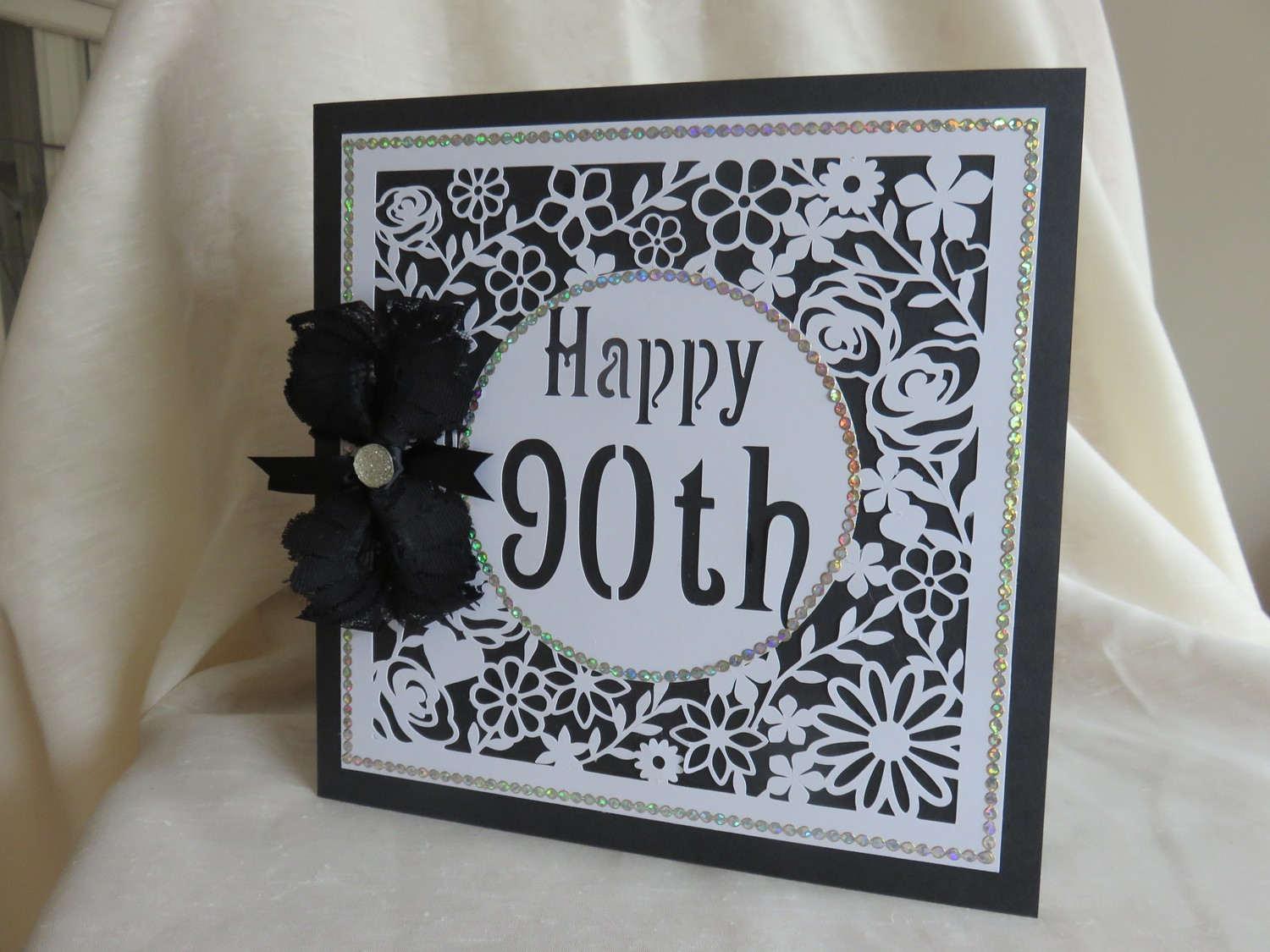 90th Birthday floral square card - studio