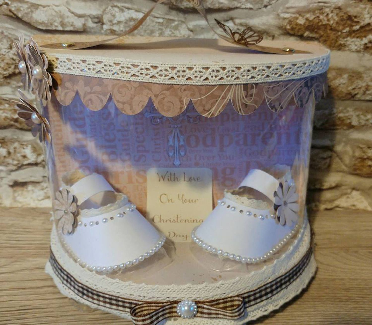 Baby Shoes in a curved front box and choice of backing paper inc Christening themed words