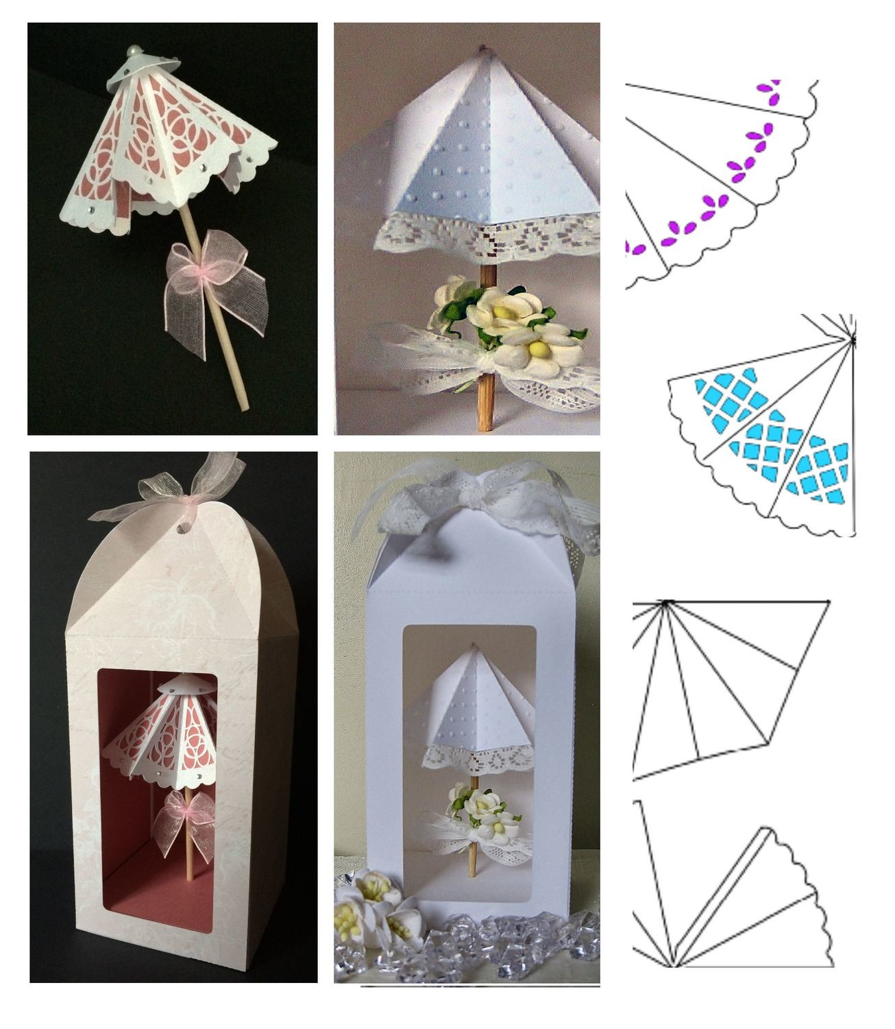 Parasol set with box -  5 different parasol designs included.