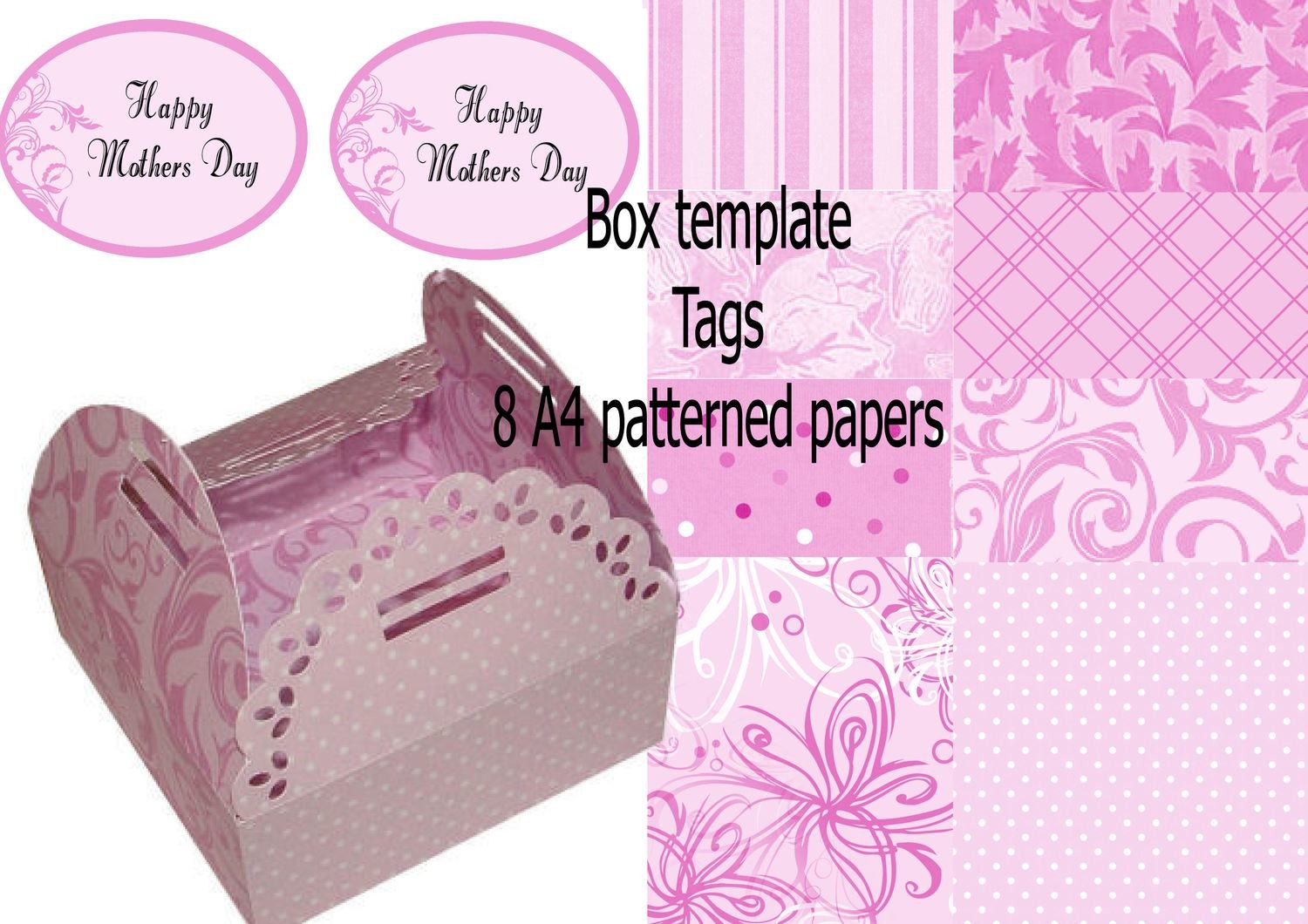 Chocolate box No 1 - inc Mother Mum liners, A4 papers, Print N Cut