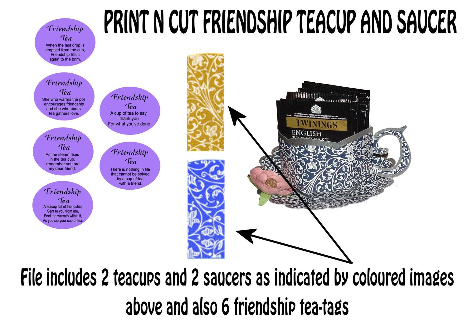 Friendship Cup and Saucer Set    Print N Cut Colour codes 3 and 17