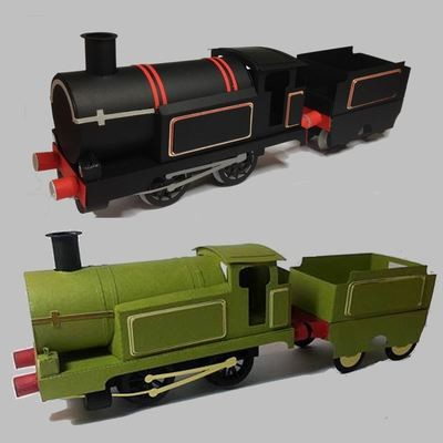 3d model Train Engine with Coal Tender, track and presentation box