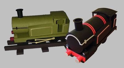 3d model Train Engine with track and presentation box