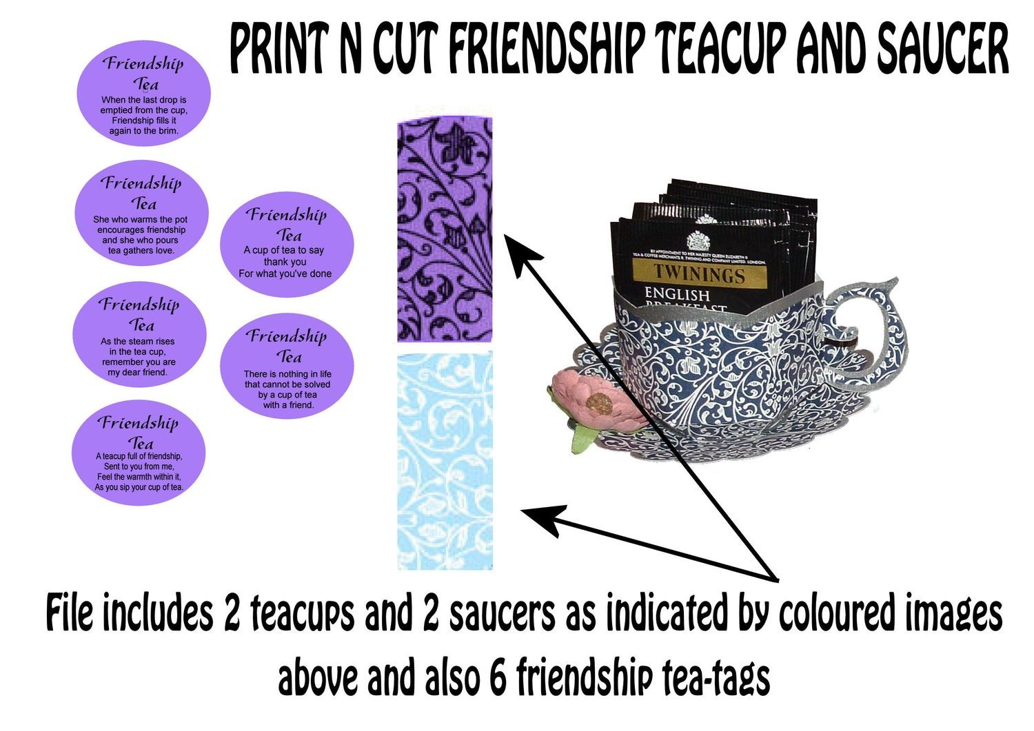 Friendship Cup and Saucer Set    Print N Cut Colour codes 5 and 23
