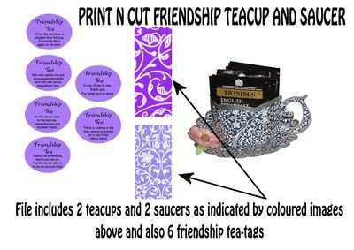 Friendship Cup and Saucer Set    Print N Cut Colour codes 2 and 4