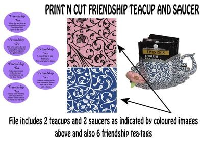 Friendship Cup and Saucer Set    Print N Cut Colour codes 15 and 26