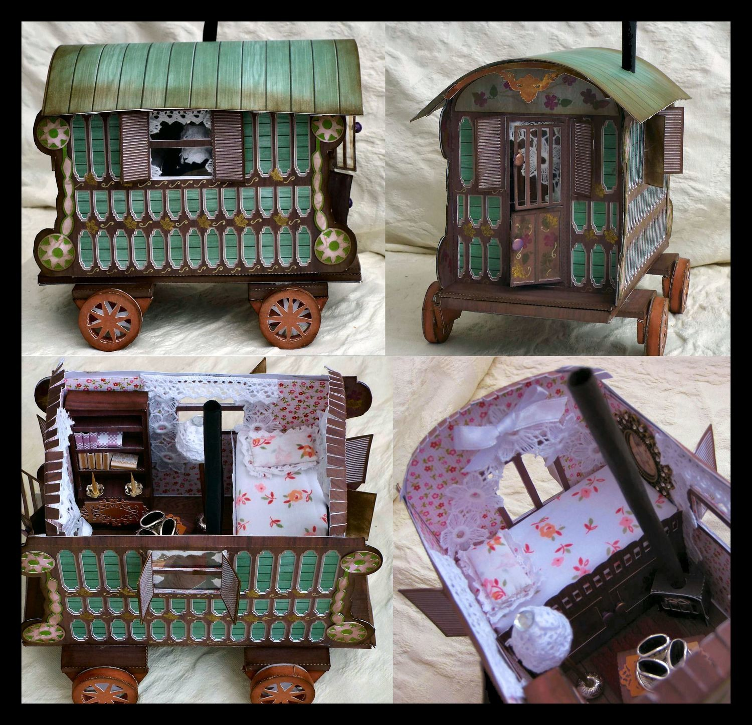 3d Romany Gypsy Caravan A4 Print n Cut only with interior and gift box