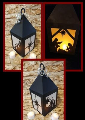Stunning Christmas Nativity Lantern Luminaire, Lamp svg format