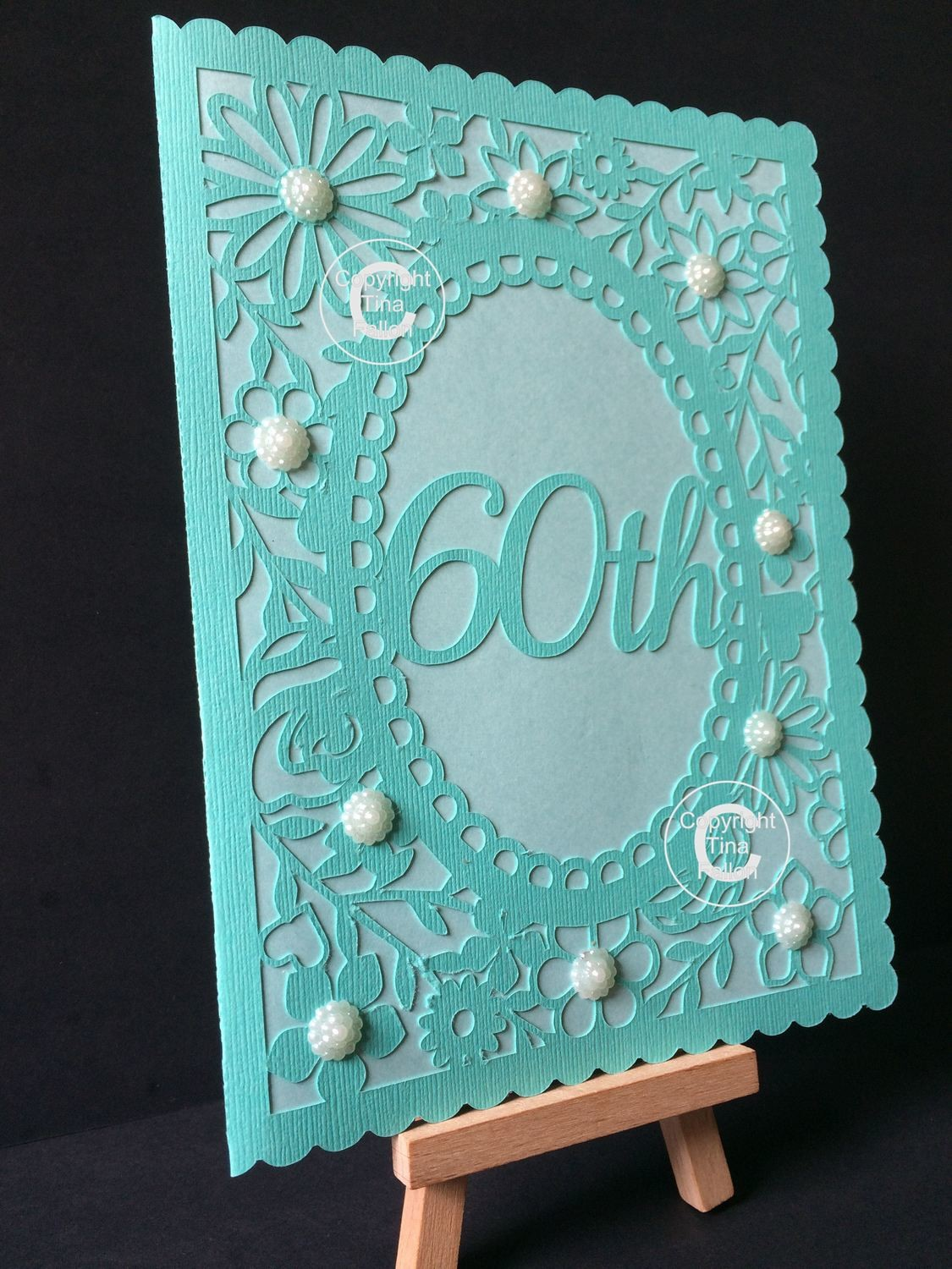 60th Birthday floral card - studio and SVG format