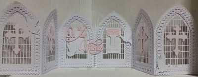 Christening, Baptism, Communion, Confirmation etc Windows / Doors Tri Fold Gatefold Card template with box, doves, trellis etc FCM Scan n Cut format