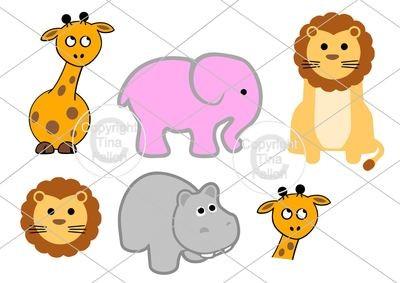 Cute Baby Animals  Set No 1  Hippo, Giraffe, Elephant, Lion
