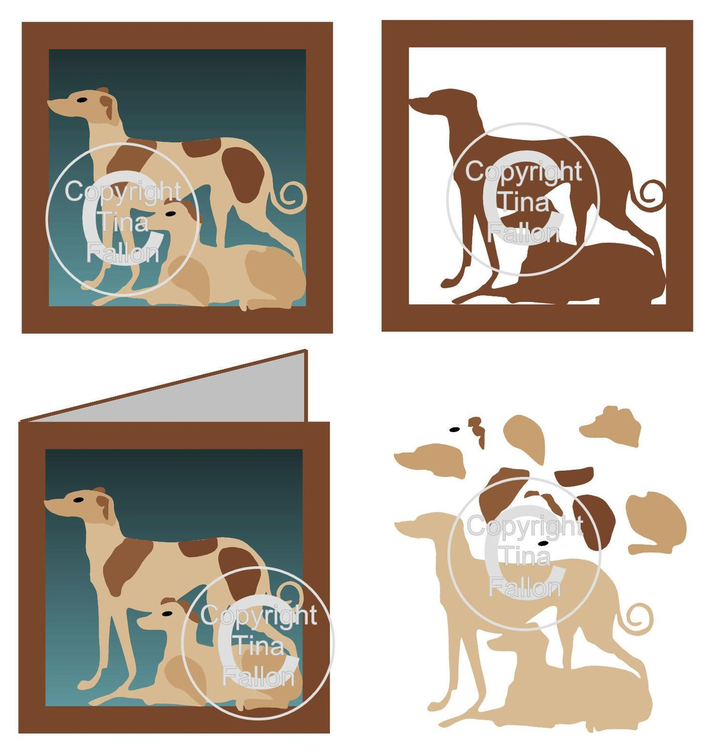 Greyhound Whippet Card Template and additional Topper