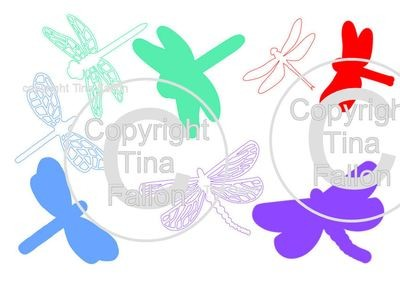 Set of 4 Dragonflies each with it own backer/under layer
