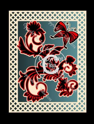 Butterfly and flourish lattice framed topper