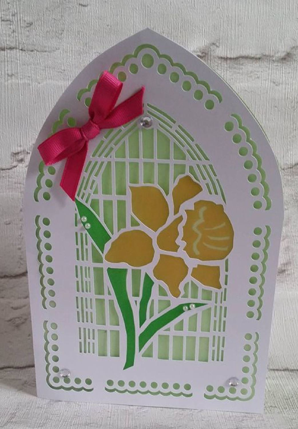 Easter Daffodil Church window card  - studio cutting file