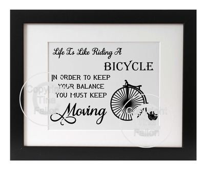 Life is like riding a bicyle - quote
