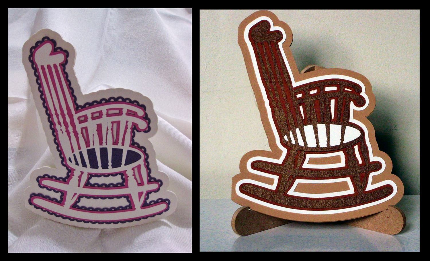 His and Hers Rocking Chair Cards - layered templates Sil Studio