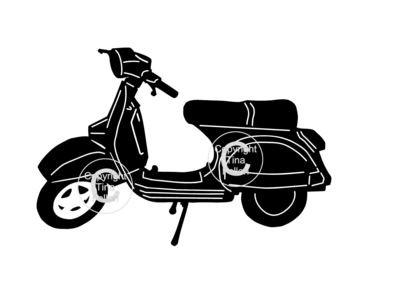 Classic Bike, Motorbike,Motorcycle Vespa silhouette