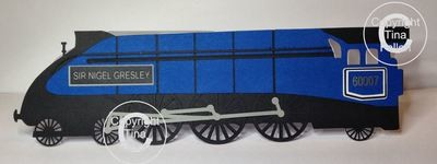 Train Steam Engine Card  - layered  Sir Nigel Gresley