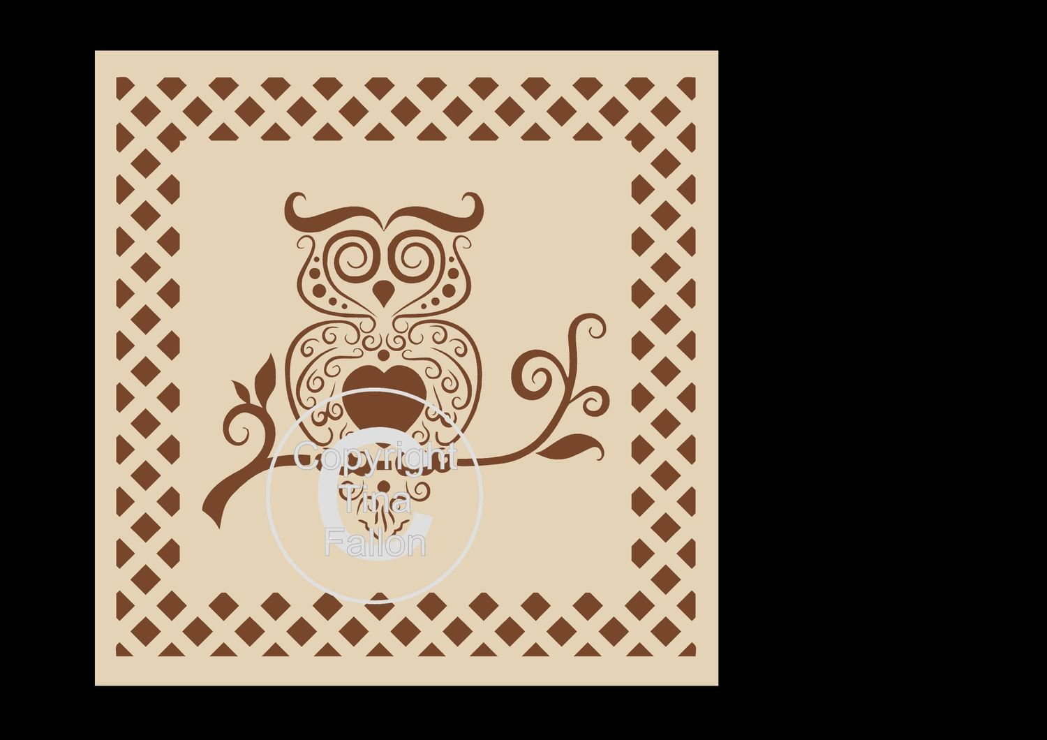 Owl in  frame - Topper  SVG Format