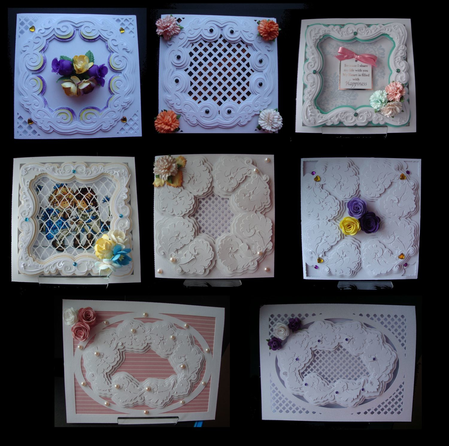 Faux Embossed Card Templates FULL SET No. 1 to No. 8   £6.00 saving  SVG