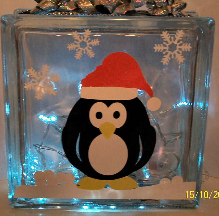 Christmas Penguin Glass Block Tile Design