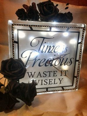 Time is Precious Quote Glass Block Tile Design