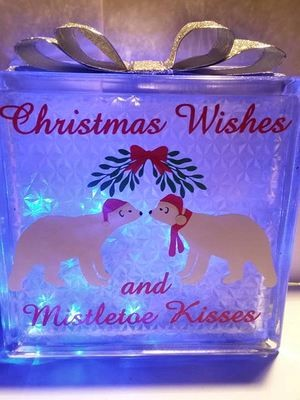 Polar Bears Christmas Wishes Mistletoe Kisses  Glass Block Tile Design