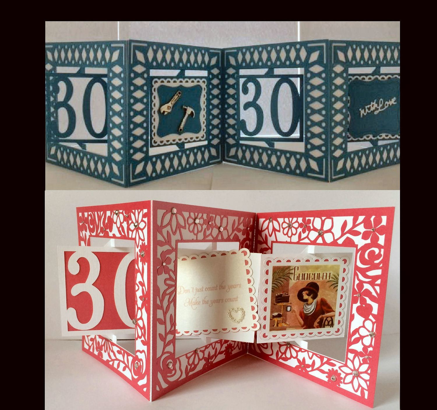 Accordian Card - 30 th  birthday - Anniversary
