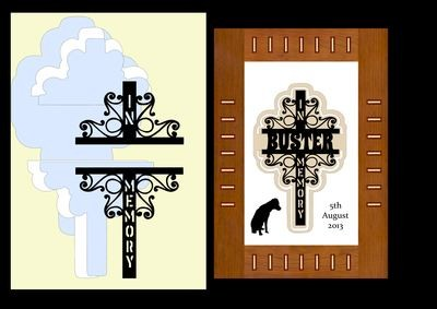 Decorative Cross No 3 IN MEMORY, can be used for people and pets.