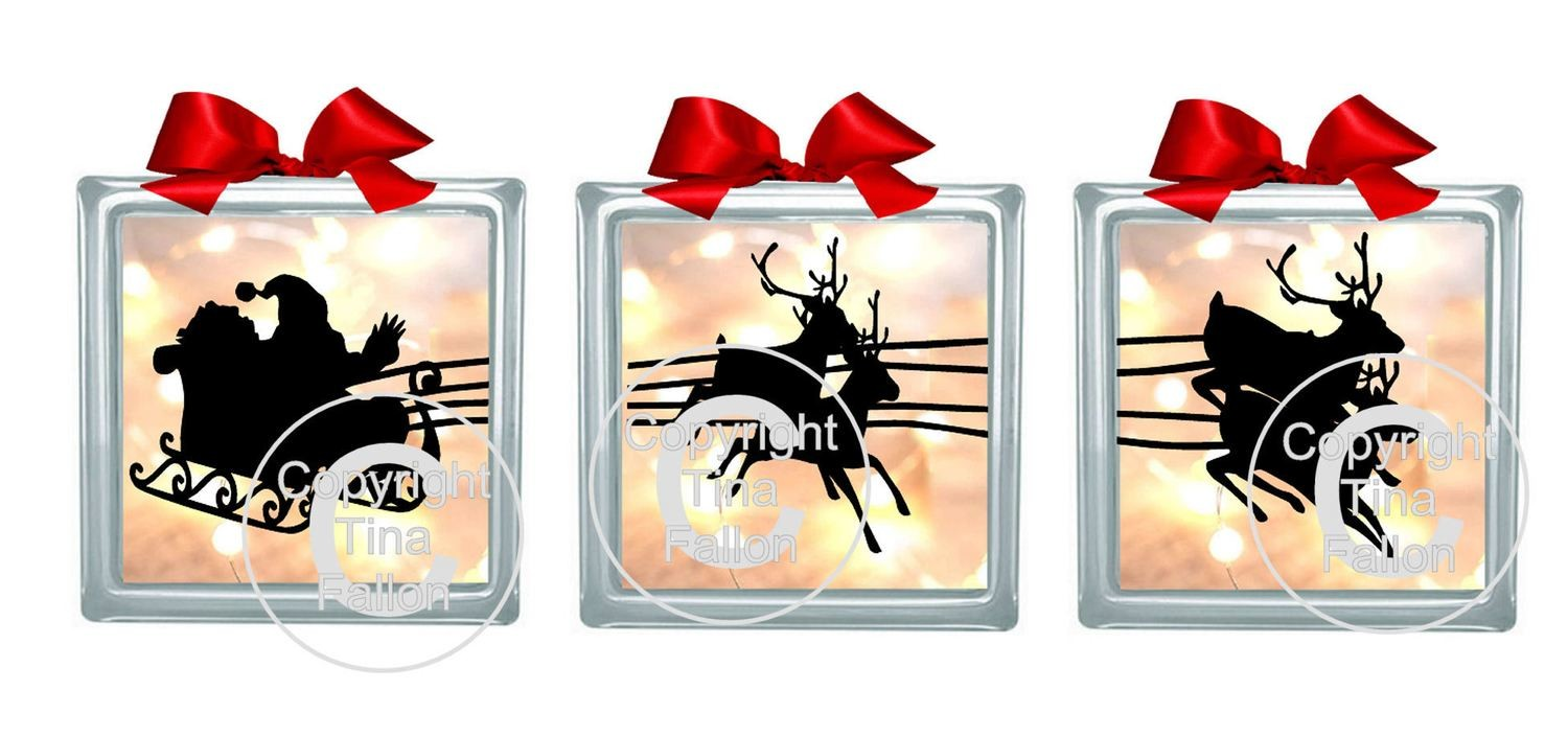 Set of 3 Santa and Sleigh Ride Glass Block Tile PLEASE READ INFO