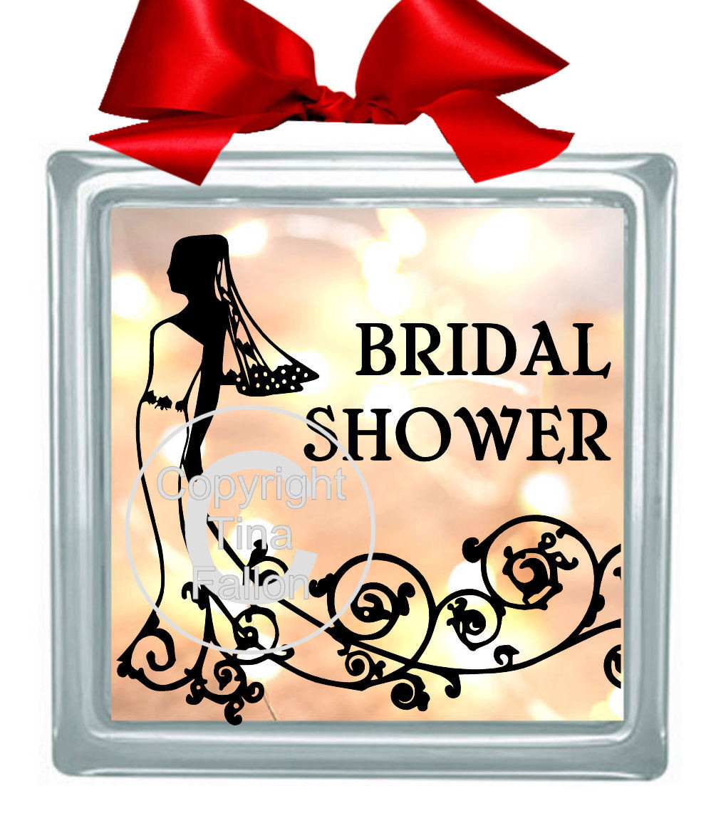 Bridal Shower Glass Block Tile Design 6x6 inches please read info
