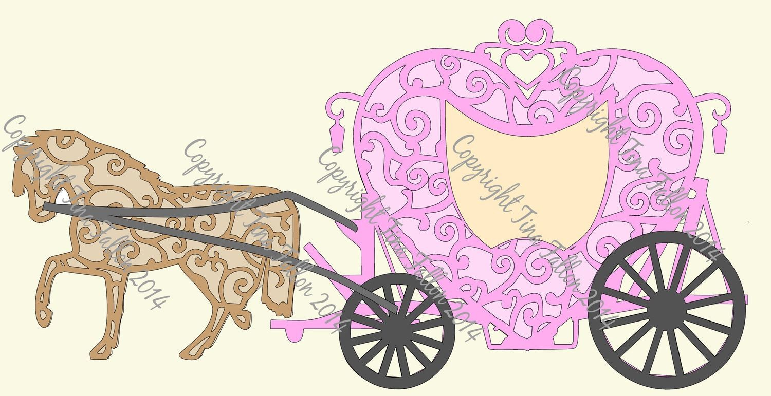 Wedding Carriage and Horse Heart Shaped -multi layered file