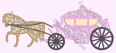 Wedding Horse and Carriage -multi layered file