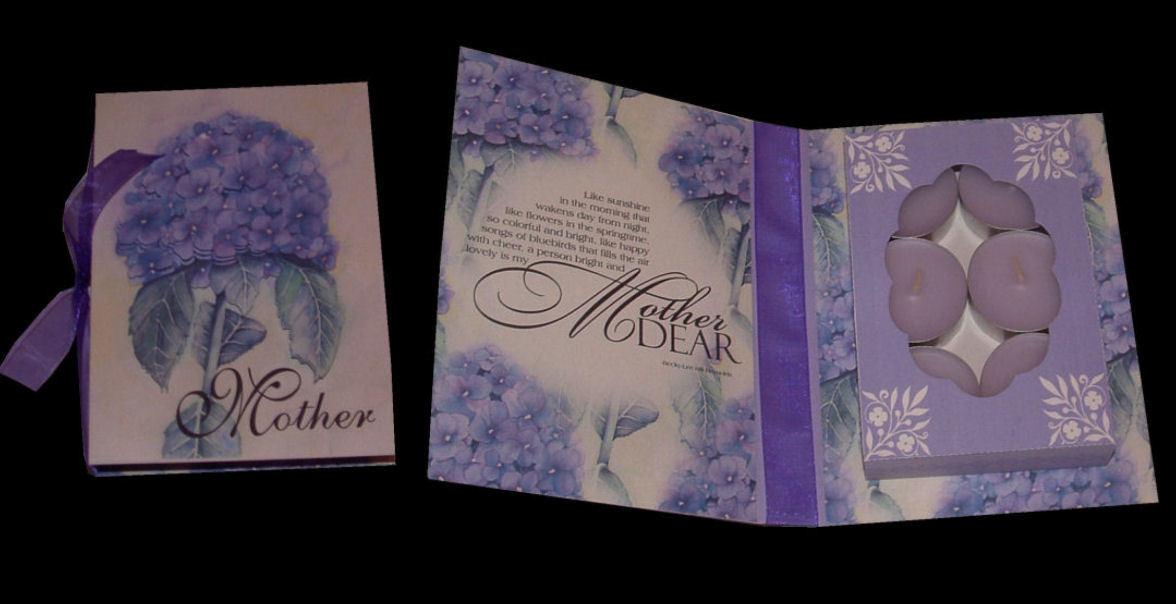 Mother Combi Card/Gift Box Hydrangea design  (handcut pdf)