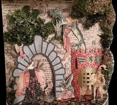 Castle, tree, portcullis, door, flint stone arch for 3d scenes in boxes - fcm format