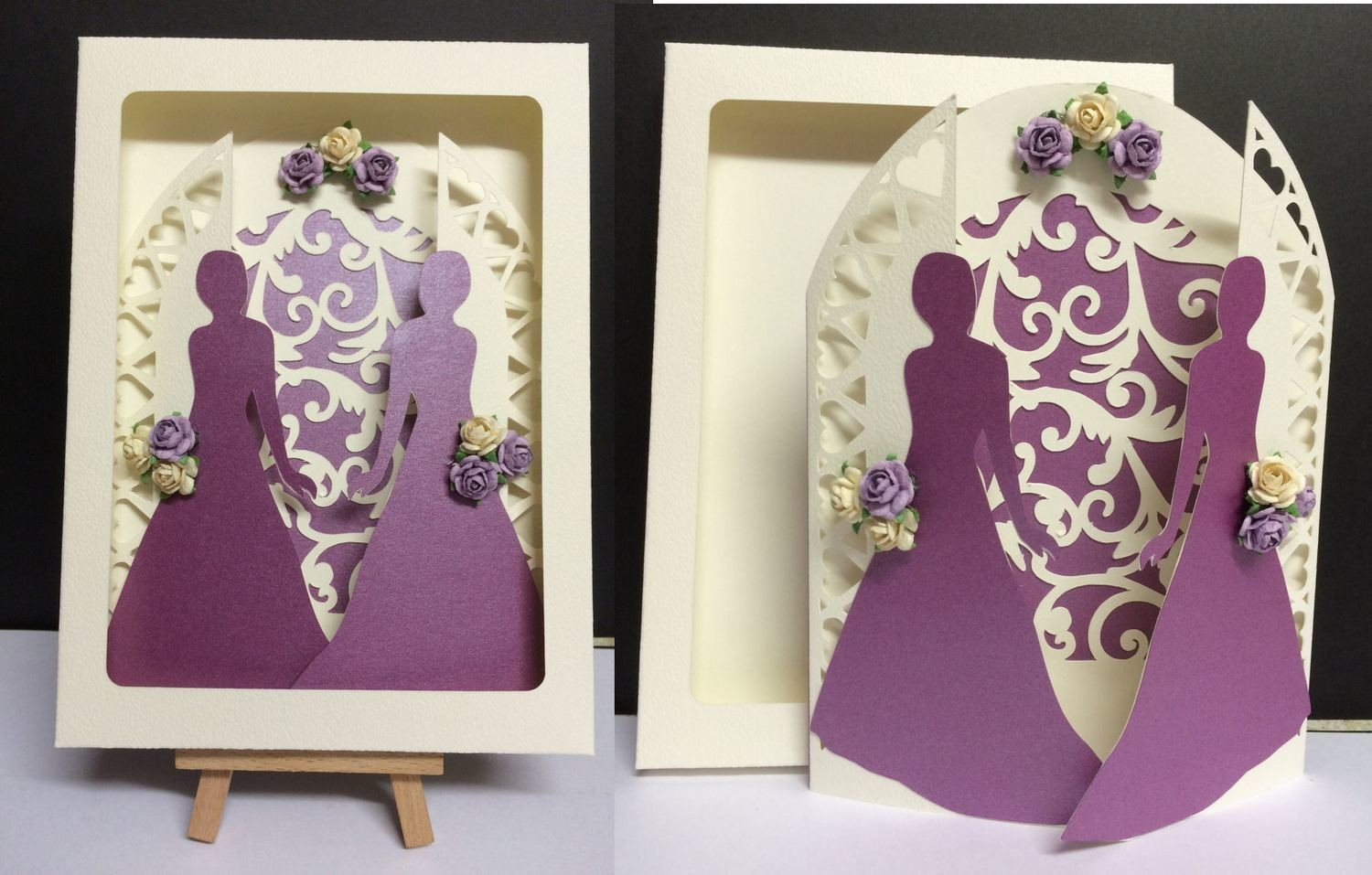 Civil Partnership Wedding Day Gatefold  with Bride and Bride and box